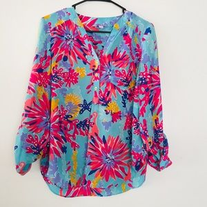 Lilly Pulitzer Blouse Silk Tunic Top Tab Sleeve S
